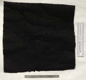 "Figure 2. 12""x12"" square wide sample of nanocarbon sheet type 2-FC-50."