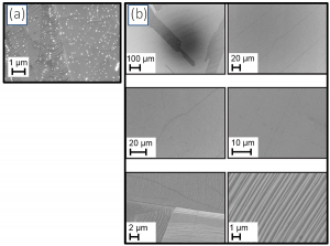 Figure 2: SEM images of CVD graphene on Cu foil. (a) Using traditional CVD graphene system: The 'white dots' are SiO2 , CuOx, and other particulates that have polluted the graphene film. (b) Using EasyGraphene™ system > 1000 X less particulates are observed.