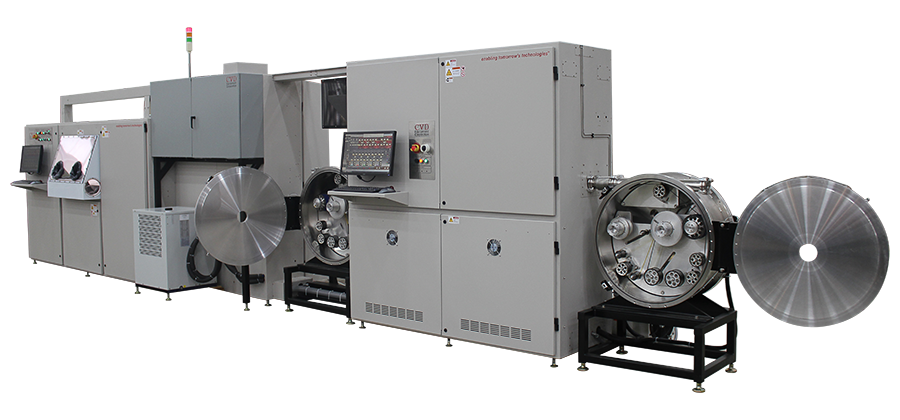 Dual chamber III-V MOCVD system with batch and reel-to-reel processing capabilities